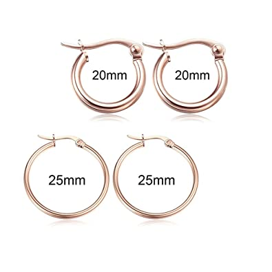 f1d7e312e Amazon.com: Yoodeet 2 Pairs Surgical Stainless Steel Hoop Earrings Cute  Huggie Earrings for Women (2 pairs rose gold): Jewelry