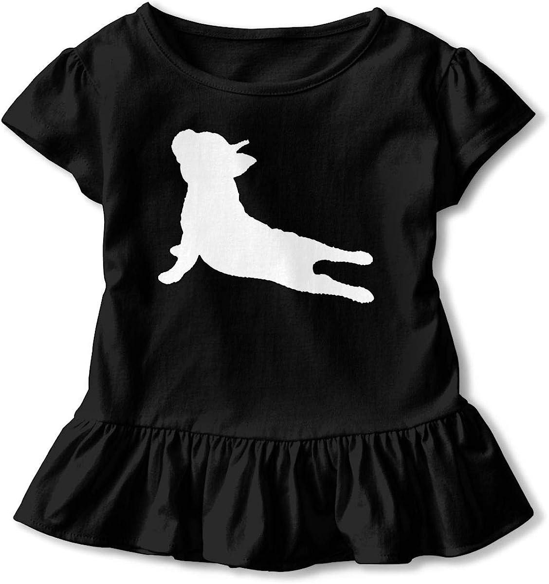 Zi7J9q-0 Short-Sleeve French Bulldog Yoga T-Shirts for Girls Ruffled Blouse Clothes with Falbala 2-6T