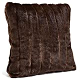 Fabulous Furs: Faux Fur Luxury Pillow, Sable, Available in standard size 18''x18'' and Euro size 24''x24'', by Donna Salyers