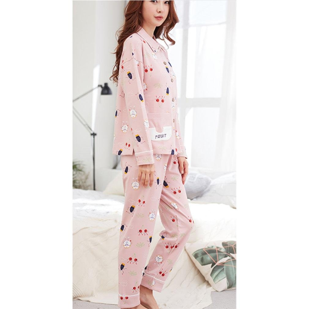 MOXIN Women Long Sleeve Cardigan Cotton Pajamas Casual Home Clothing 2 Pieces Set , xl (100% pure cotton) , 2#
