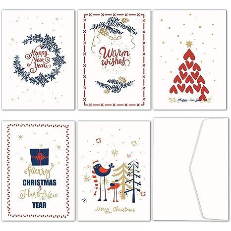 Biglietti Di Auguri Per Natale Da Stampare.Jofanza Biglietti Di Natale Confezione Da Pezzi Note Di Auguri Di Natale Con 5 Motivi Assortiti Funny Cute Biglietti Di Natale Con Buste Bianche