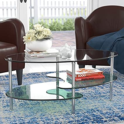 Amazoncom Ryan Rove Fenton Oval Two Tier Glass Coffee Table