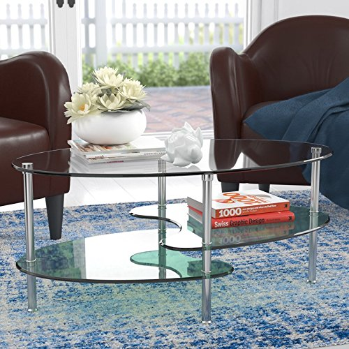 Ryan Rove Fenton - Oval Two Tier Glass Coffee Table - Tables for Living Room, Kitchen, Bedroom and Office - Glass Shelves Under Desk Storage - Clear Top Frosted Bottom