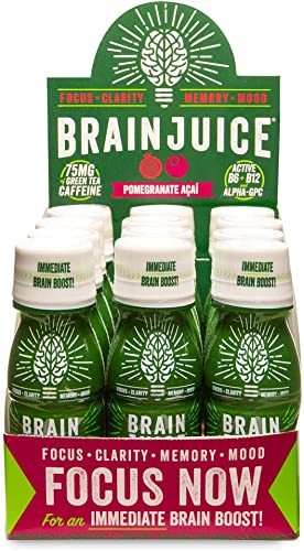 BrainJuice Brain Booster Shot, Pomegranate Acai Liquid Drink Supplement for Improved Energy, Memory, Focus, Clarity Mood, Gluten-Free, Non-GMO 2.5 fl oz, 12 Count