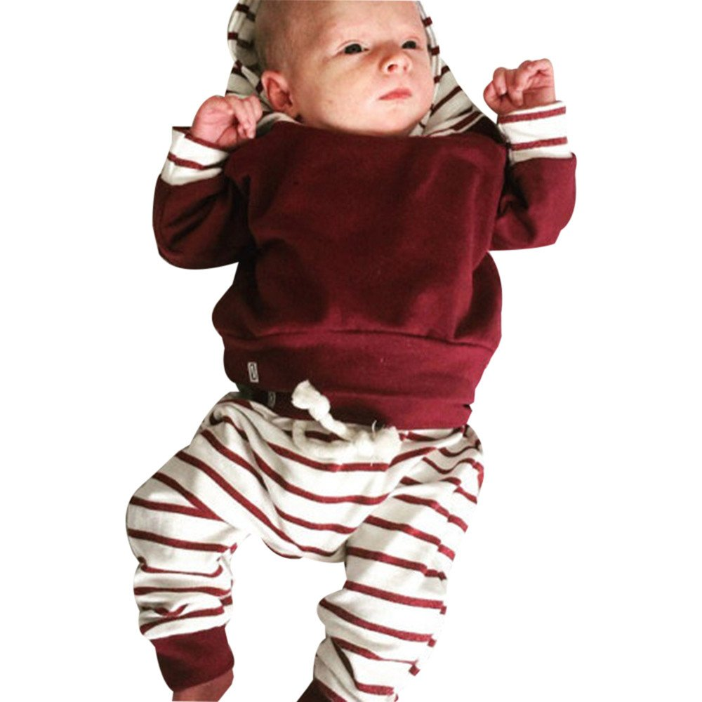 Newborn Kids Baby Girl Boy Outfits Clothes Hooded Stripe Tops+Pants Set, 2PCS Set Winter Thick T-Shirt Warm Sweatshirt Clothes Tracksuit