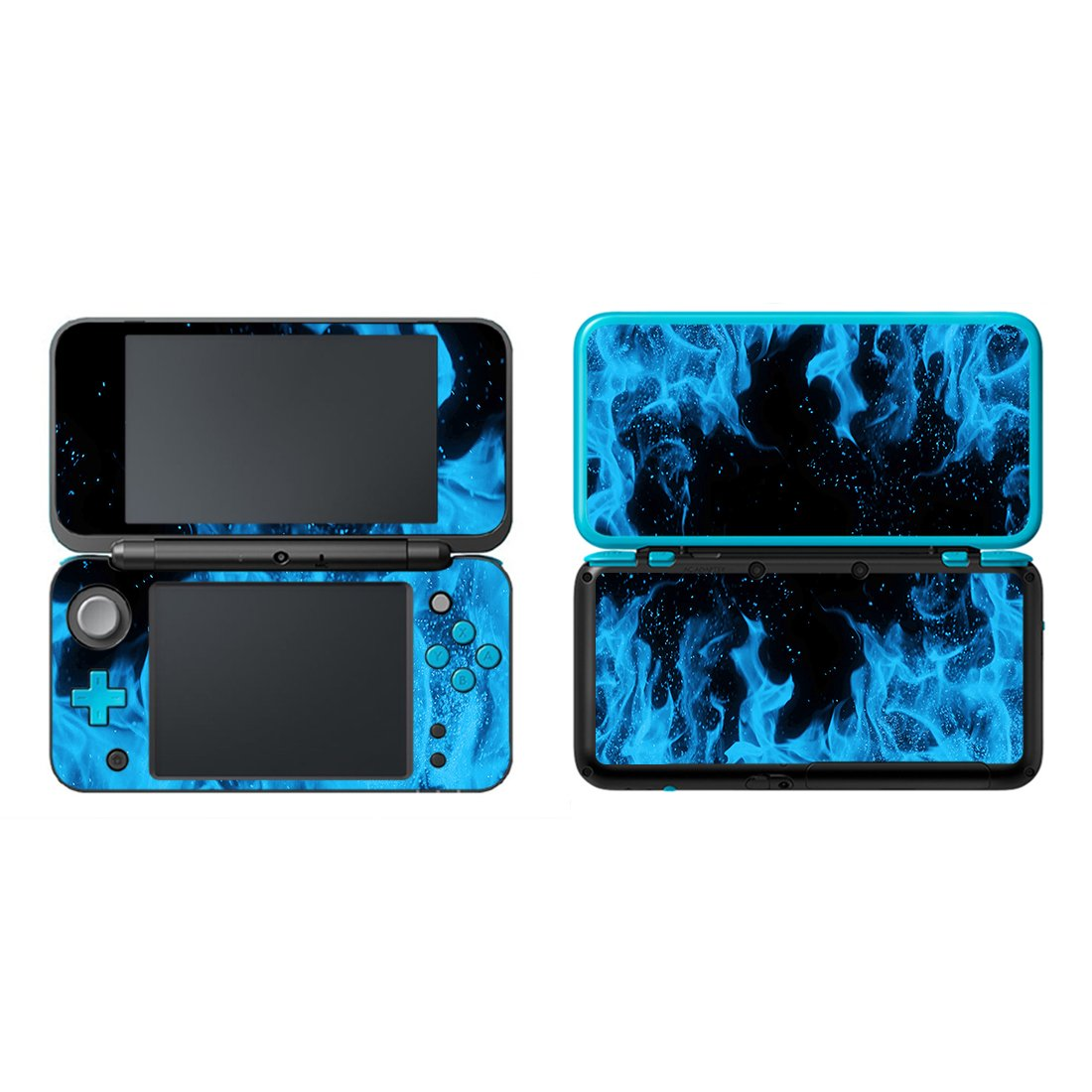 UUShop Protective Vinyl Skin Sticker Cover Wrap for New Nintendo 2DS XL/LL Ice Blue Flame