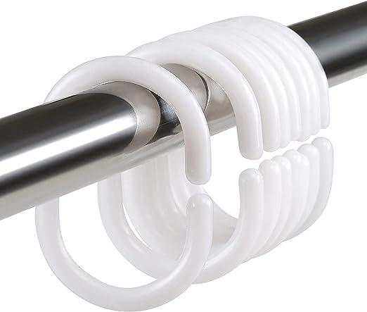White Plastic C Rings Hook Hanger for Bathroom Shower Window Rod GOODGDN 36 Pcs Shower Curtain Hooks Rings