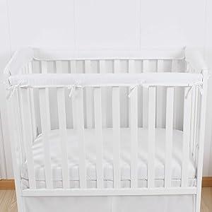 CaSaJa 4-Piece Mini Crib Rail Cover Set for Entire Mini Crib Rails 24in x 38in, Safe Breathable Padded Batting Inner for Baby Teething Guard, Soft Reversible Mini Crib Rail Protector Wraps, White