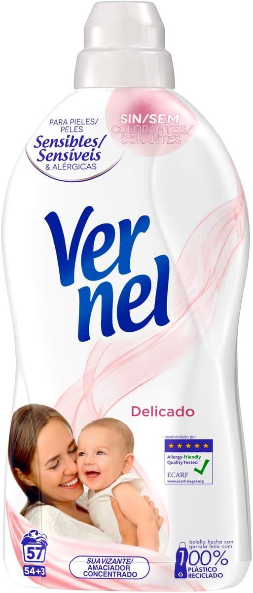 Vernel Suavizante Delicado - Pack de 8, Total: 456 Lavados (10.4 L ...