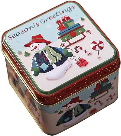 Prosperveil - Caja de Lata vacía de Metal, Cuadrada, Caja de Almacenamiento con Tapa para decoración de Fiestas de Navidad: Amazon.es: Hogar