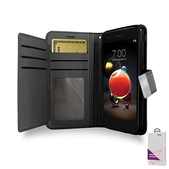 LG Aristo 2 Case, LG Aristo 2 Wallet Case, By [T MAN ] Leather [Double] Wallet Card Slots Cover Case For Metro Pcs LG Aristo 2 / LMX210/ MS210 (Black)