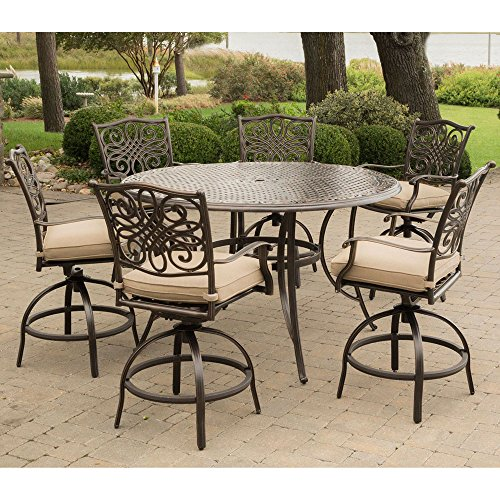 Hanover TRADDN7PCBR Traditions 7-Piece Rust-Free Aluminum Patio High Dining Set Outdoor Furniture, Tan