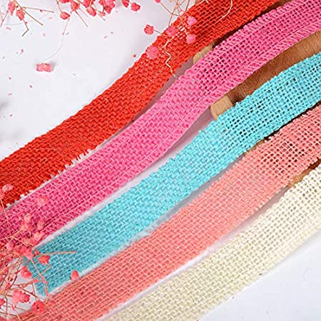 Black MoGist 2M Christmas Colorful Burlap Ribbon Jute Twine Rope Ribbon for DIY Cake Bouquet Wraps Wedding Party Christmas Decorations,Various Colors