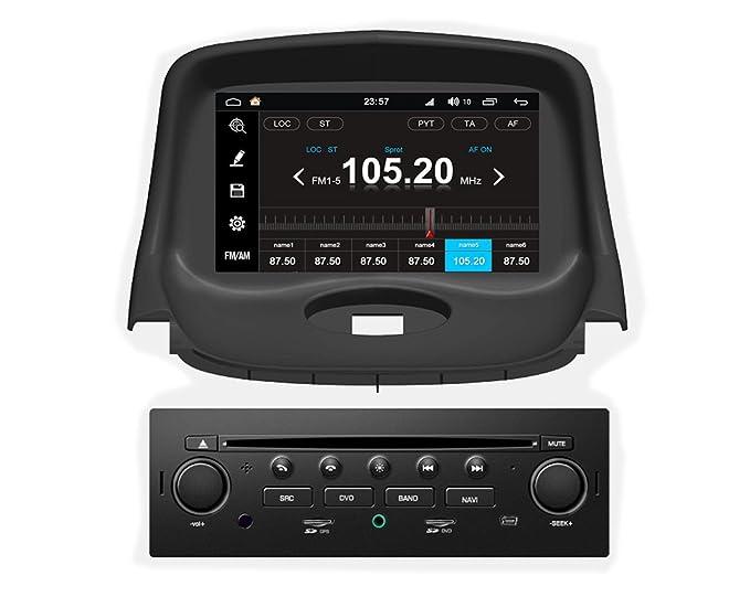 roverone Android Sistema 7 Inch Autoradio GPS para PEUGEOT 206 206 CC, 206SW con navegación Radio estéreo DVD Bluetooth SD USB pantalla táctil: Amazon.es: ...