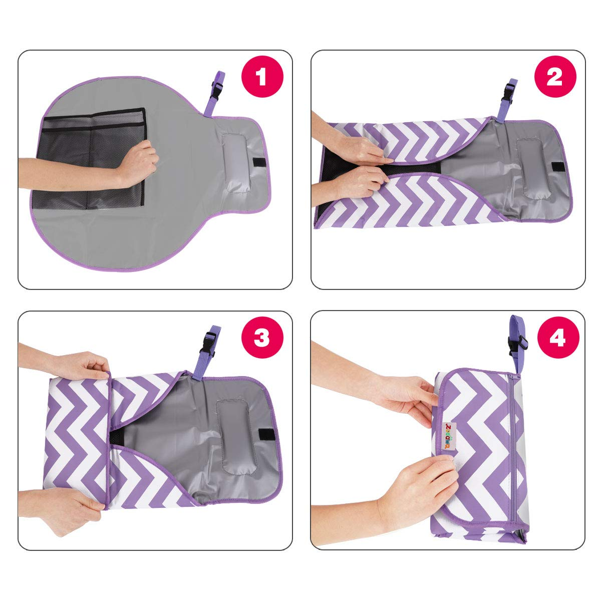 Purple Stripe Lightweight Waterproof Travel Diaper Clutch Diaper Changing Mat Station with Mesh Pockets and Padded Head Rest Zooawa Baby Portable Diaper Changing Pad