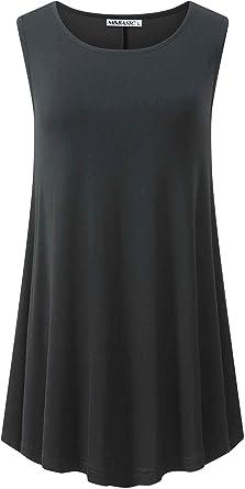 MSBASIC Camisa fluida sin Mangas de Mujer Túnica de Swing Camiseta sin Mangas con Vuelo Holgado de Verano 8021-7 X-Large: Amazon.es: Ropa y accesorios