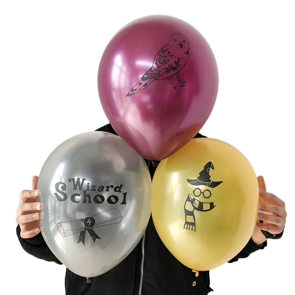 Potter Party Birthday Balloons Wizard School Decoration Supplies, 30pcs, Latex Gold, Silver, Maroon Trendy Party Supplies