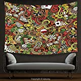 House Decor Tapestry Casino Decorations Doodles Style Art Bingo Excitement Checkers King Tambourine Vegas Wall Hanging for Bedroom Living Room Dorm