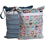 Sleeping Lamb Baby Travel Wet Dry Cloth Diaper Organizer Bag (Owls and Stripe)