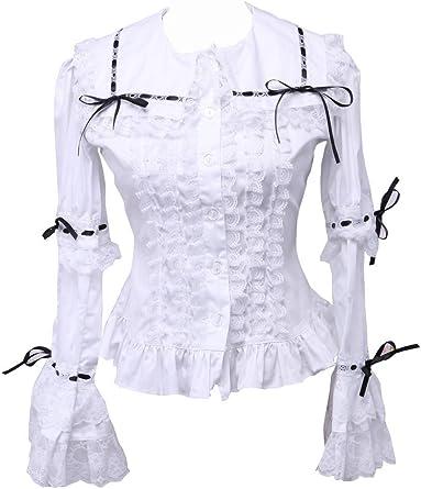 an*tai*na* Blanca Algodón Negra Encaje Volantes Victoriana Sailor Collar Camisa Blusa de Mujer: Amazon.es: Ropa y accesorios