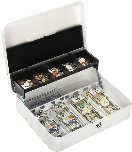 Caja metálica con cerradura de llave, caja de dinero con cierre grande – 5 compartimentos con tapa y 4 clips de resorte para billetes, 11 4/5