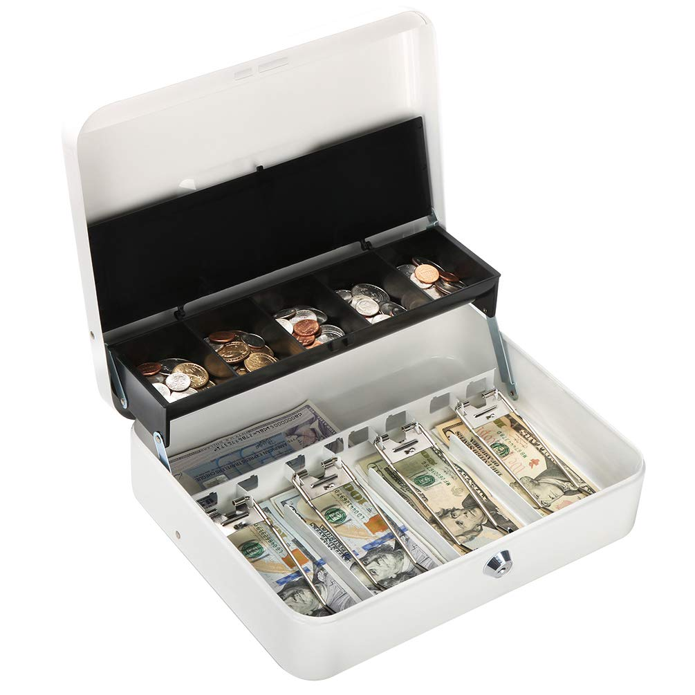 Metal Cantilever Cash Box with Key Lock, Decaller Large Lock Money Box - 5 Compartments with Cover & 4 Spring-Loaded Clips for Bills, White, 11 4/5'' x 9 2/5'' x 3 1/2'', QH3010L