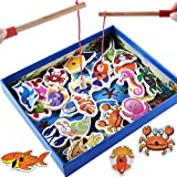 Fiaya 32Pcs Wooden Magnetic Fishing Game Set Educational Fishing Toys (32Pcs, Multicolor)