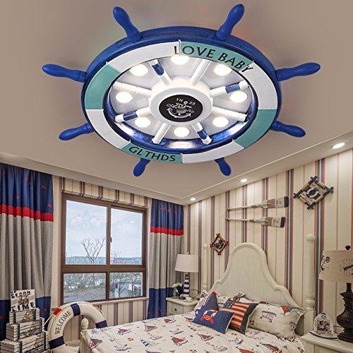 Cttsb Elderly Creative Rudder Cartoon Children's Room Art Ceiling Light led Mediterranean Boys Bedroom Remote Lighting,62cm blue Remote palette