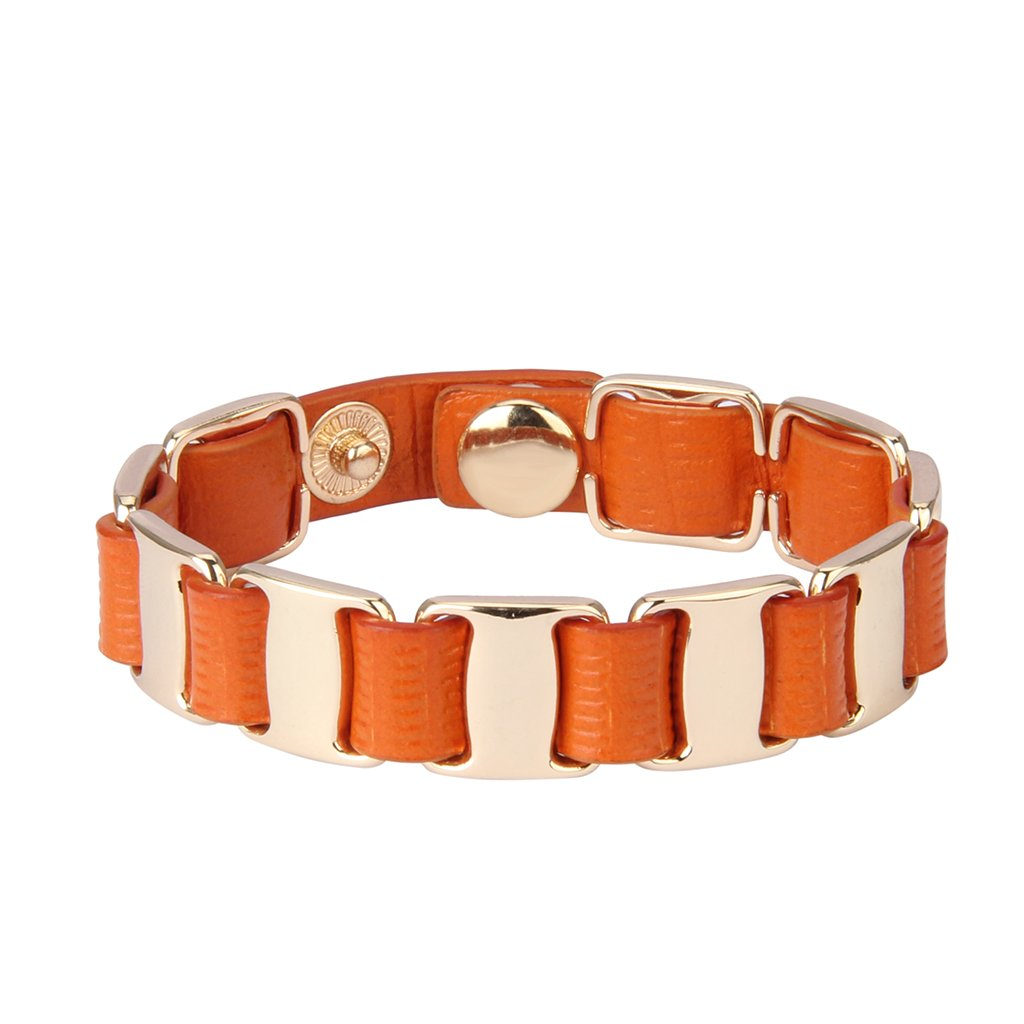 JOYMIAO Italian Orange Genuine Leather Bracelets for Women Gold Button Jewelry Girl Cuff Bangle - Graduation Ceremony Gift