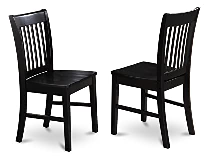 East West Furniture NFC BLK W Dining Chair Set With Wood Seat, Black