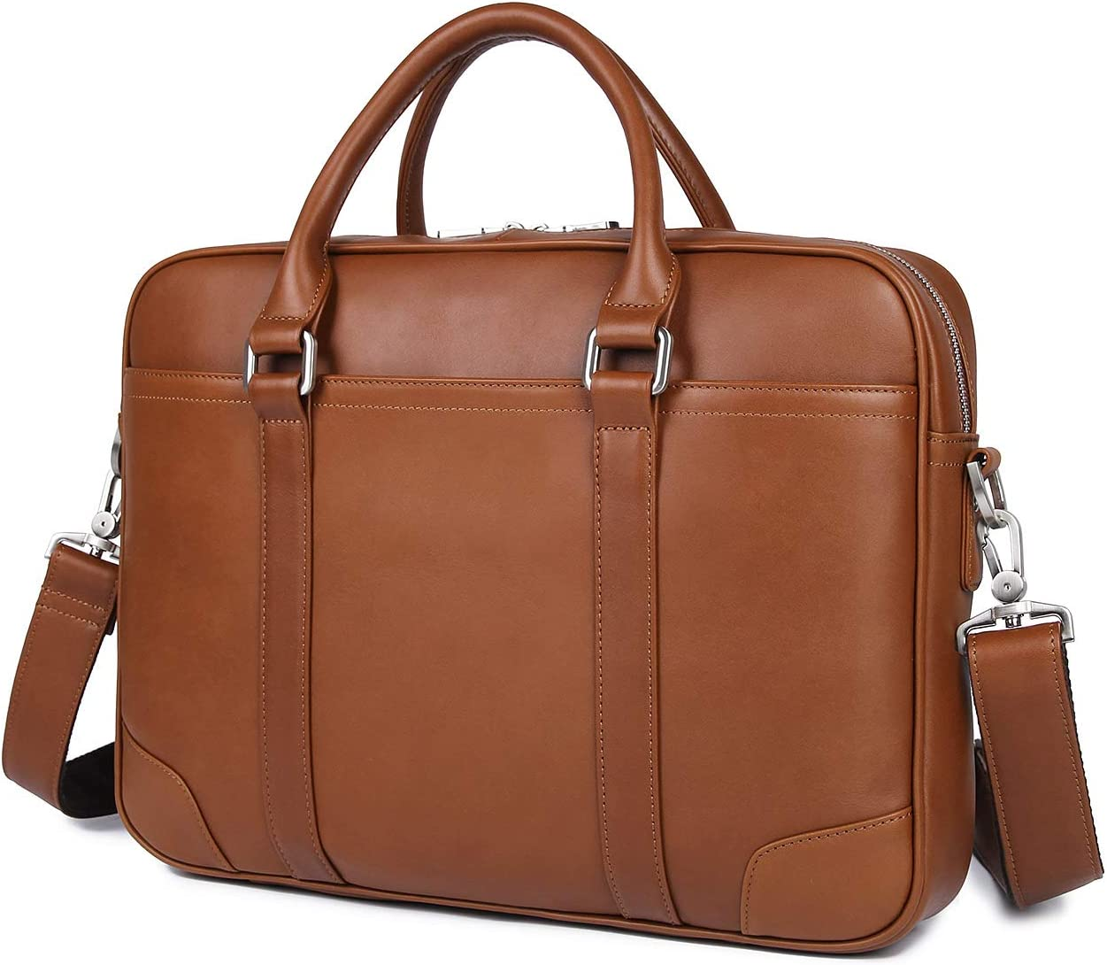 YOGCI Mens Leather Briefcase Messenger Laptop Bag for Business Work,Fits 13 14 15 Inch Computer (Brown)