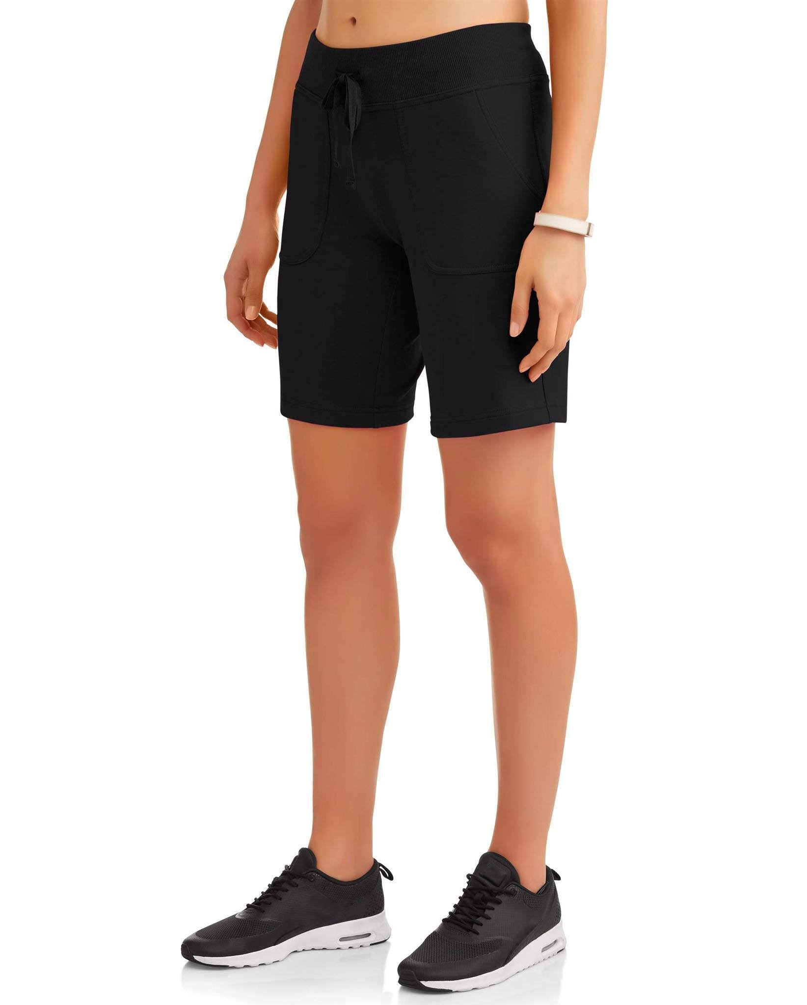 Athletic Works Women's Active Performance Soft French Terry Drawstring Shorts 2 Pockets - Black L
