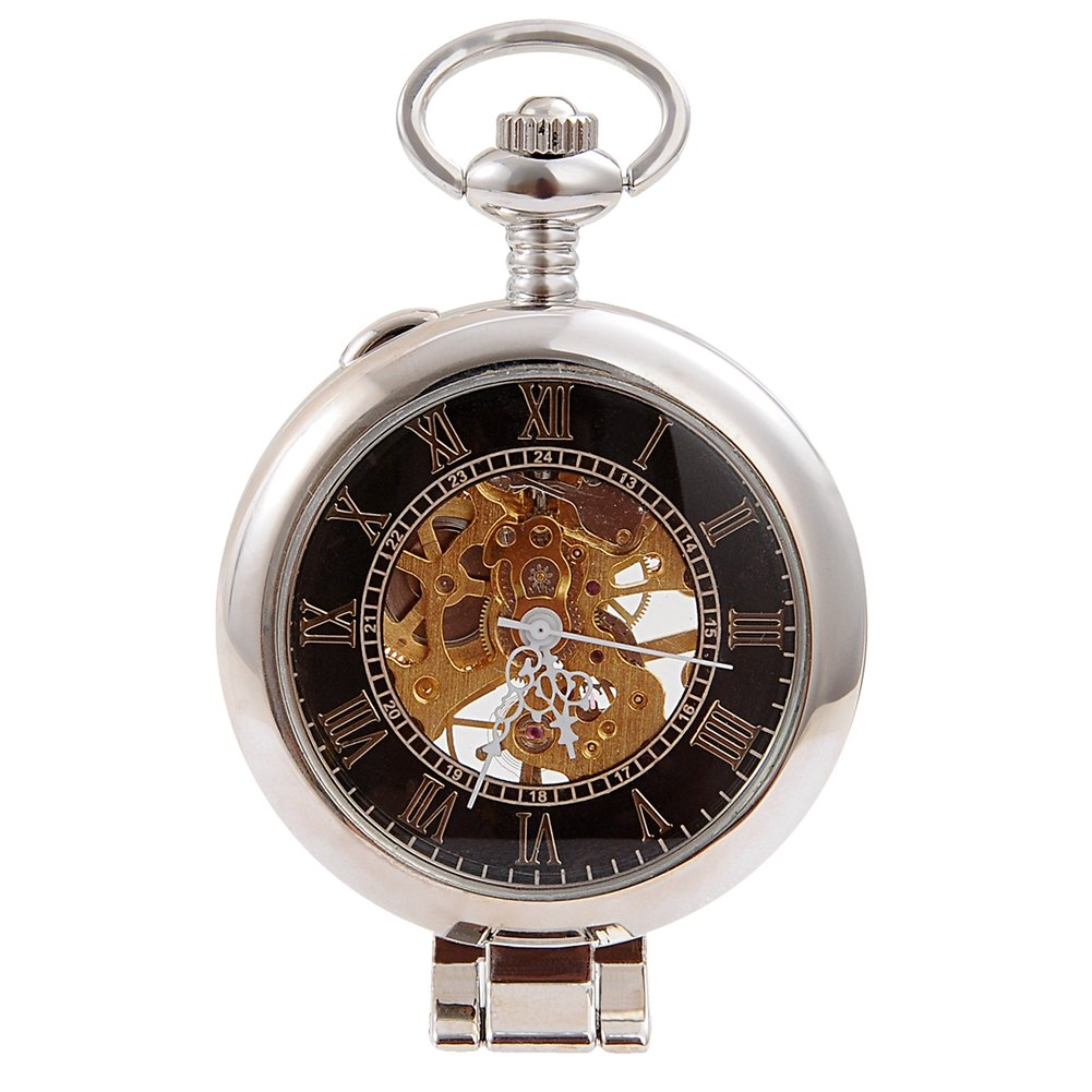 Steampunk Silver Skeleton Men Women Kids Metal Mechanical Pocket Watch by Top Fashion Watches (Image #1)