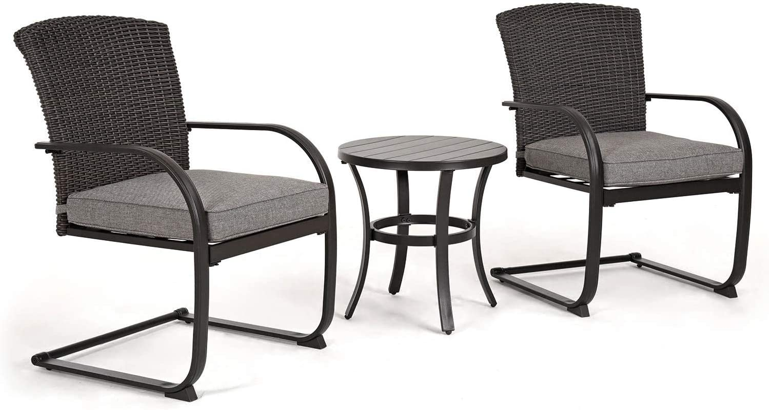 Grand patio 3 Piece Outdoor Bistro Set with Cushioned Wicker Spring Chairs and Metal Side Table