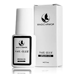MAGIC ARMOR Nail Glue for Acrylic Nails, Brush on Nail Glue for Nail Repair, Professional Super False Nail Adhesive Glue for Broken Nails Long Lasting