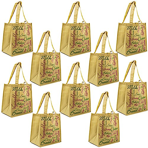 ReBagMe Large Reusable Grocery Bag Totes with Extra Reinforced Handles - Brown (Pack of 10)