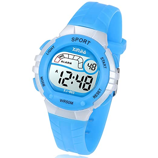 Amazon.com: Kids Digital Watch, Girls Boys 50M(5ATM) Waterproof Multi-Functional WristWatches for Children(Blue): Watches