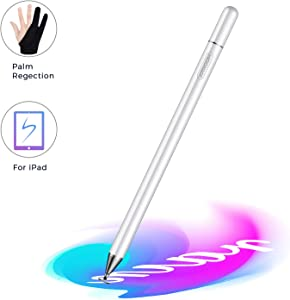 JOYROOM Stylus Pen for iPad, Capacitive Pencil for Kid Student Drawing, Writing, High Sensitivity, with Artist Glove(Palm Rejection), for Touch Screen Devices Tablet, Smartphone (White)