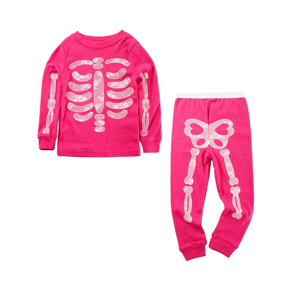 Mud Kingdom Glow in The Dark Kids Skeleton Home Clothes Sets ZT0018