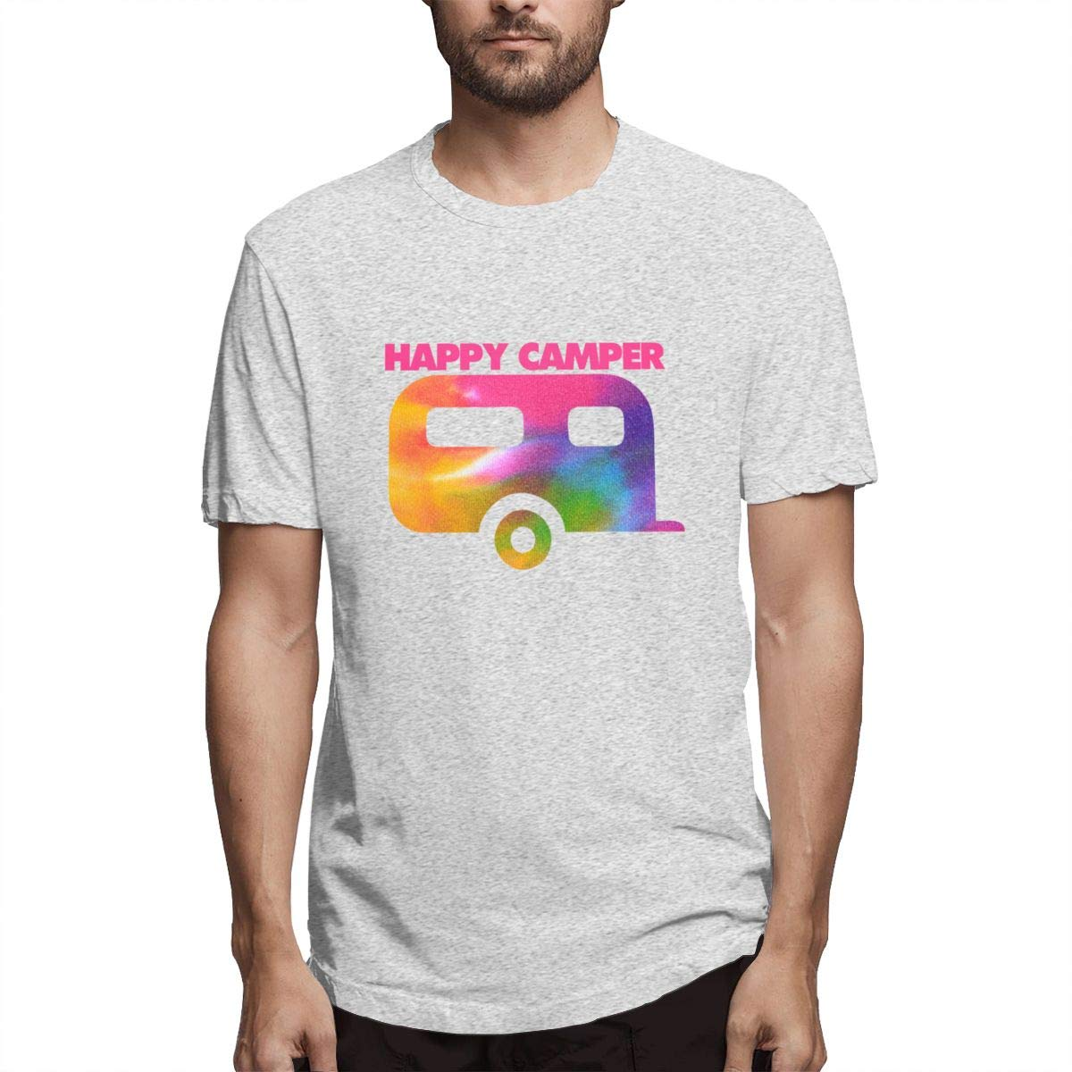 Luxendary Men Logo Happy Camper Man Basic Athletic Round Neck Short Sleeve T-Shirts