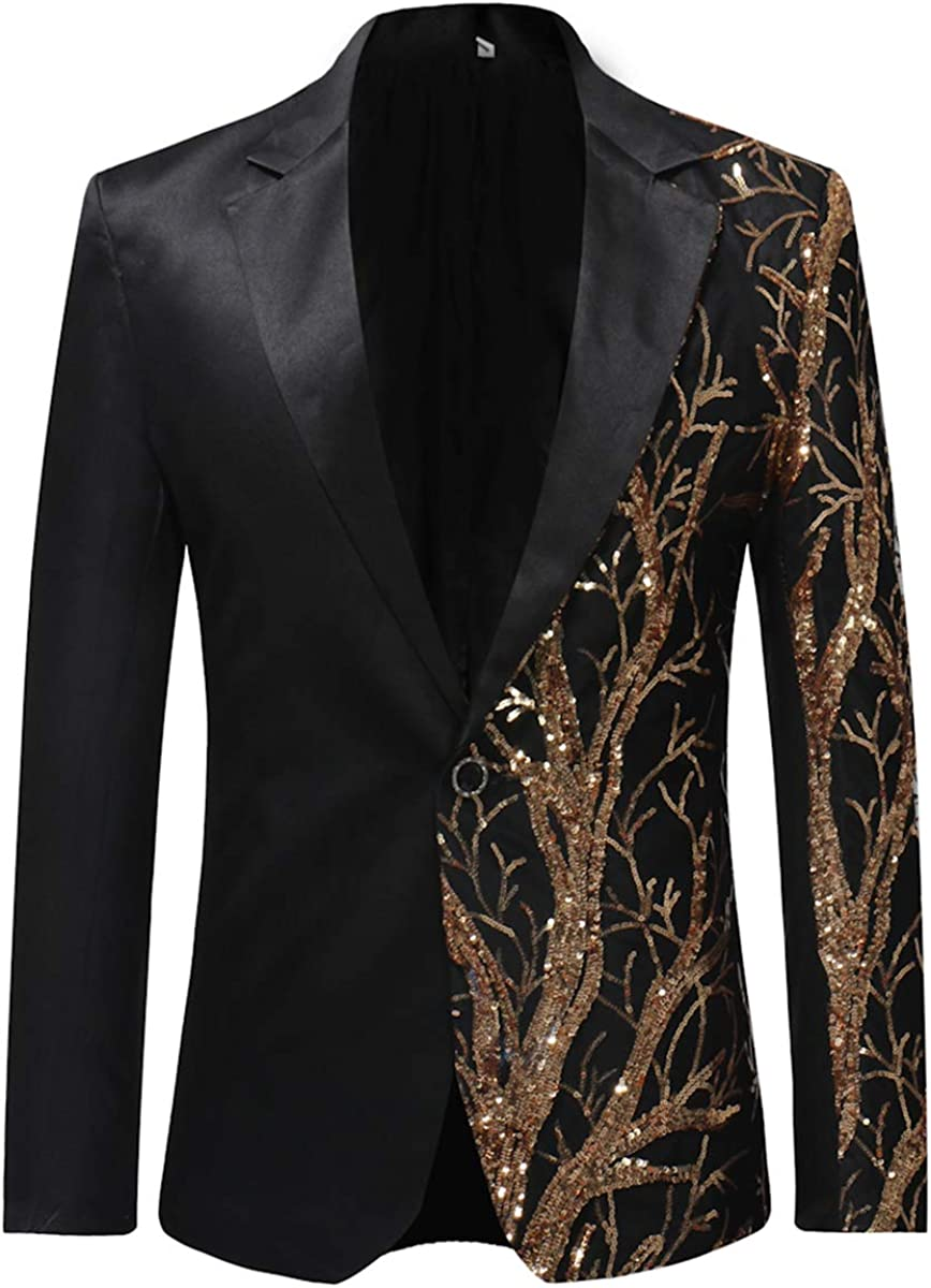 Mens Stylish Dinner Tux Dress Blazer Gold Sequin Slim Fit Suit Jacket Sport Coat