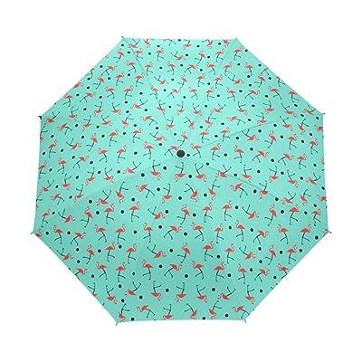 Windproof Sunny Rainy Travel Full Umbrella Women Flamingo Pattern 3 Folding Rain Gear Portable Parasol