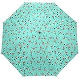 Windproof Sunny Rainy Travel Custom Umbrella Women Flamingo Pattern 3 Foldable