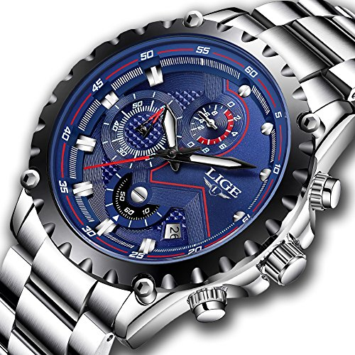 LIGE Watch Men Sport Quartz Clock Mens Watches Stainless Steel Chronograph Waterproof Top Brand Luxury Business Blue Wrist - Brands Mens Luxury