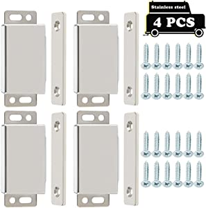 Alise 4-Pack Heavy Duty Cabinet Door Catch,Furniture Closet Catches Latch with Strong Magnetic,CA8000-4P Made of Thicker Stainless Steel