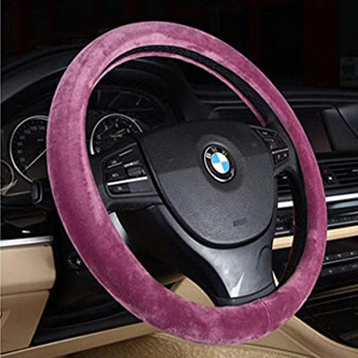 Winter Warm Car Steering Wheel Cover Universal Wool Premium Faux Car Steering Wheel Plush Cover 15 Inch Middle Size Auto Anti-slip Wheel Cushion Protector Auto Comfortable Thermal Steering Wheel Cove: Automotive