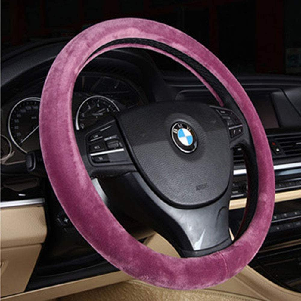 Auto Anti-Slip Protector 15 inch Wool Car Steering Wheel Cover Universal Odorless,Red Winter Warm summer cool