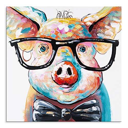 BPAGO Animal Pig 1 pcs 100% Oil Painting Wall Art Framed and Stretched,24 x 24 Inches