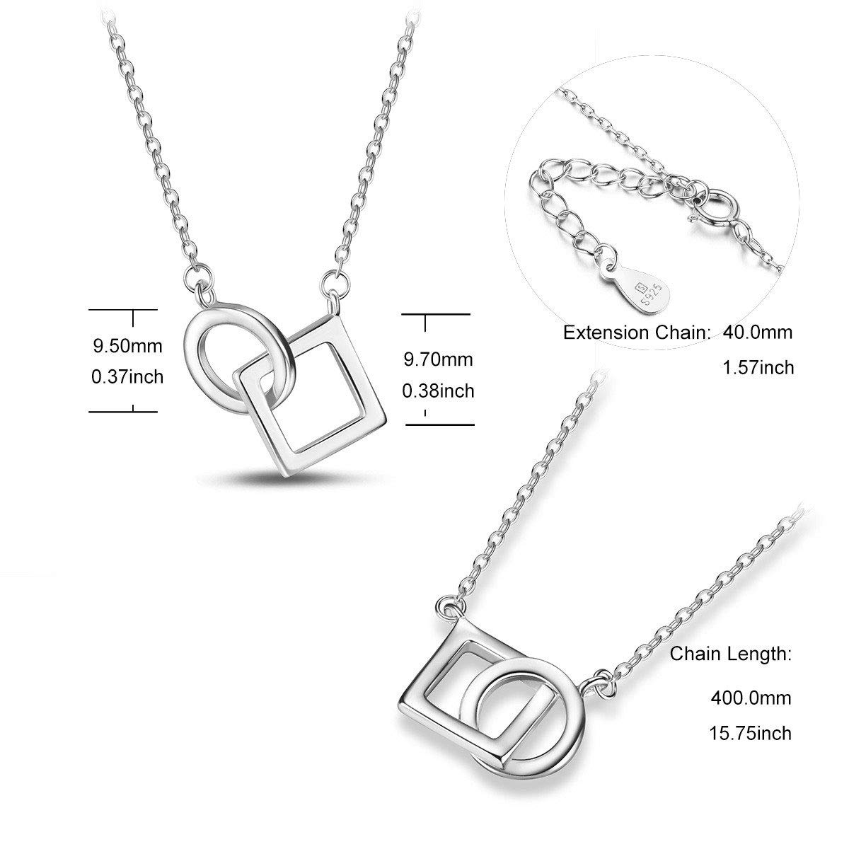 SHEGRACE Diamond and Circle Pendant Necklace 925 Sterling Silver Jewelry for Woman,Platinum,17.32
