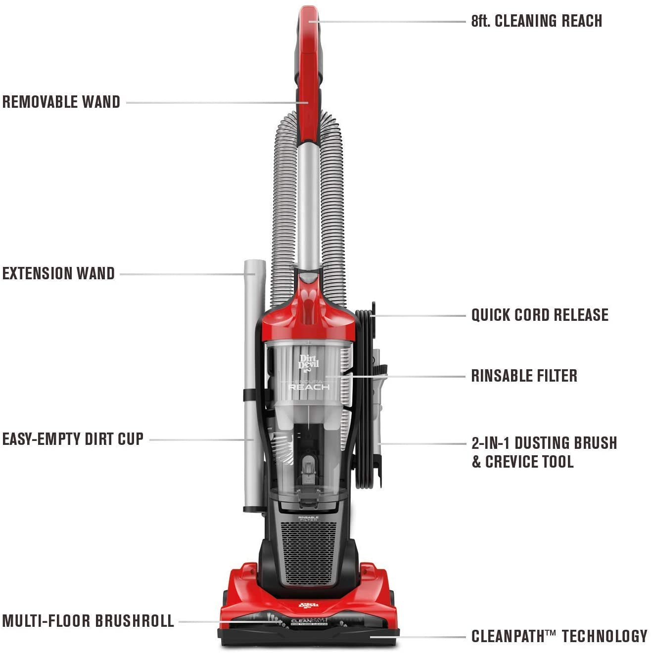 UD20124 with No Loss of Suction Renewed Dirt Devil Endura Reach Upright Vacuum Cleaner Red